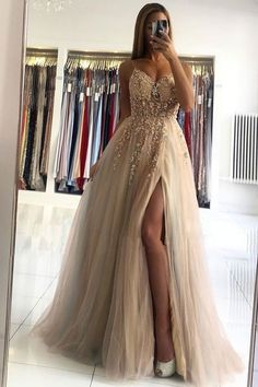 Sexy V neck Beaded Slit Long Prom Dress with Slit, A Line Tulle Evening Gown T1776 Cute Prom Dresses, Grad Dresses, Pretty Dresses, Homecoming Dresses, Beautiful Dresses, Formal Dresses, Champagne Evening Dress, Dream Dress, Marie