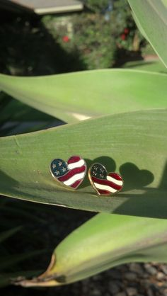 Vintage Avon Heart Shaped American Flag Earrings by volumeone2, $9.95