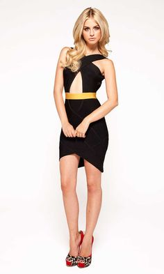Herve Leger BLACK & GOLD KEYHOLE BANDAGE DRESS
