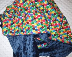 """The Very Hungry Caterpillar Dots on Midnight Blue Minky Dot Blanket- Small 32"""" x 35"""" on Etsy, $32.00"""
