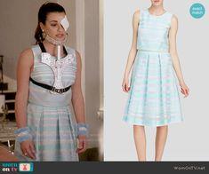 Hester's blue striped overlay dress on Scream Queens.  Outfit Details: http://wornontv.net/54784/ #ScreamQueens