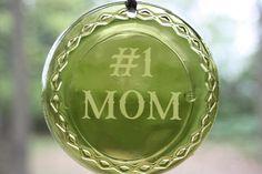 Sun Catcher Ornament 1 Mom Green Upcycled Wine Bottle