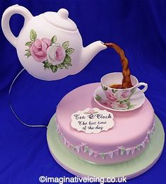Icing Teapot pouring Icing tea into an Icing Tea Cup Cake- handpainted and matching cup and saucer :0)