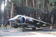 A Harrier carrying rocket pods during operations at a makeshift base. Air Force Aircraft, Ww2 Aircraft, Fighter Aircraft, Military Aircraft, Fighter Jets, British Aerospace, Close Air Support, Royal Engineers, Experimental Aircraft