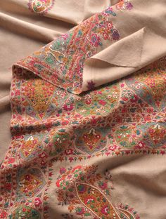 Beige Multi Color Superb Hand Embroidered Border And Palledar Large Kashmir Pashmina Shawl Shawls