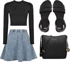 Outfit: Black crop top, denim skater skirt