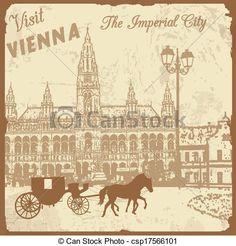 visita, Viena, imperial, ciudad, cartel - csp17566101