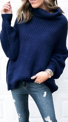 knit sweater and rips