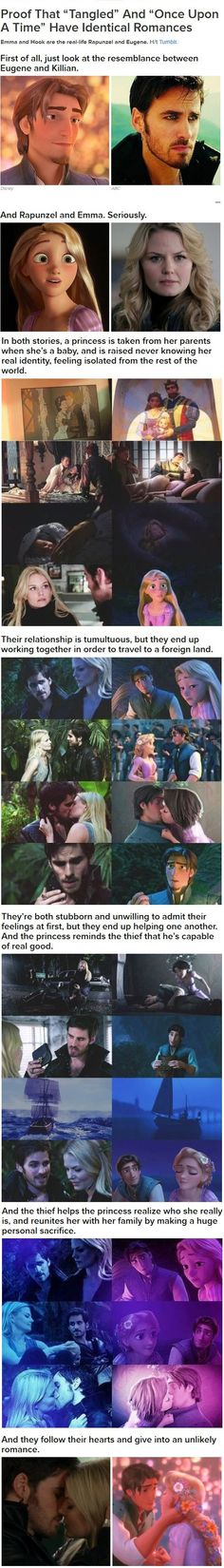 Once Upon A Time (OUAT) and TangledThe Emma & Hook and Rapunzel & Flynn parallels Aw this is cute I just ruined once upon a time for myself however I hadn't gotten that far yet HAHAHAH Ouat, Captain Swan, Captain Hook, Disney Love, Disney Magic, Disney Kiss, Once Upon A Time, Hunger Games, Live Action