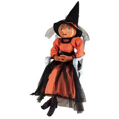 Isadora Pumpkin Witch Cloth Halloween Doll. Halloween Decorations from TheHolidayBarn.com