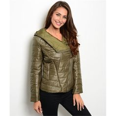 FLASH SALE Olive Puffer Features an asymmetric zipper. It's really cute! 100% nylon. PLEASE DO NOT BUY THIS LISTING. Comment with your size when you're ready to purchase and I'll make you a new listing. trades. PayPal. Jackets & Coats Puffers