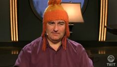 Leo Laporte in knitted Jayne cap