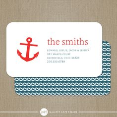Like this- minus the anchor. (maybe an empire state logo or something? Nautical Looks, Nautical Design, Nautical Theme, Custom Business Cards, Business Card Design, New Address Cards, Moving Announcements, Mom Cards, Calling Cards