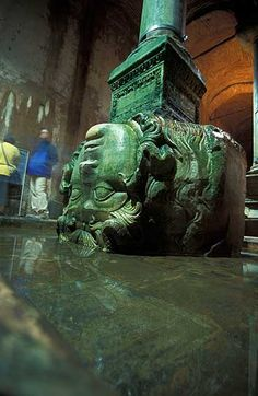 "Istanbul cistern, medusa pillar Chtonic monster ""The finale. The center of the earth."" Super creepy to me now! Republic Of Turkey, Hagia Sophia, Ancient Rome, Cool Photos, Amazing Photos, Places To See, Greece, Europe, History"