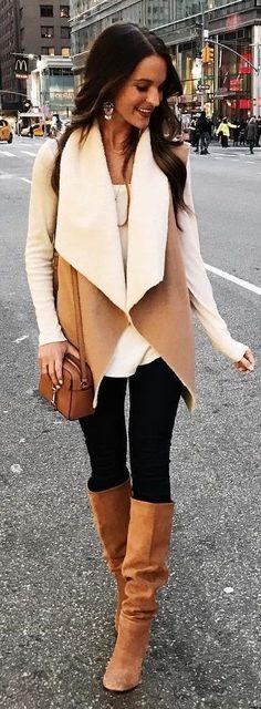 #winter #fashion /  Camel Jacket / Black Leggings / Camel Boots