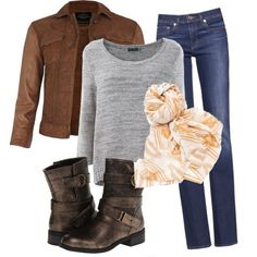 Casual fall outfit 5 simple outfit with a warm scarf created bykit7854 on - Polyvore
