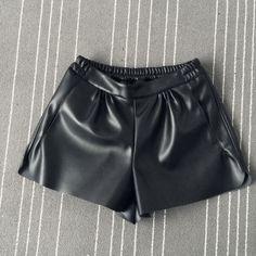 2016 New Summer Women Elastic Waist PU leather Black Shorts Female Celebrity same Loose Fashion Women Casual Shorts