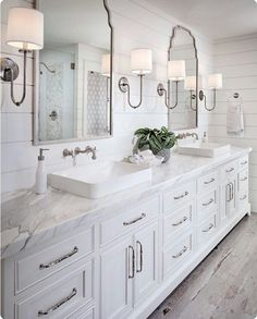 Love the cabinetry, mirrors, sinks, fixtures-everything except the shiplap. So overdone.