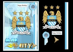 Manchester City Football Birthday Male/Female by Jan Mason Another in my football club designs, for an A5 card (folded A4). Quick and easy,…