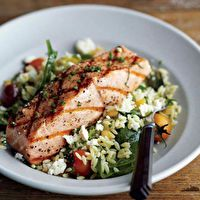 Grilled Salmon with Orzo, Feta, and Red Wine Vinaigrette by Curtis Stone