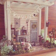 #miniature#garden#Easter#bear#handmade#ミニチュア#ガーデン#イースター#くま#手作り#ハンドメイド Now it's done! 完成しました!