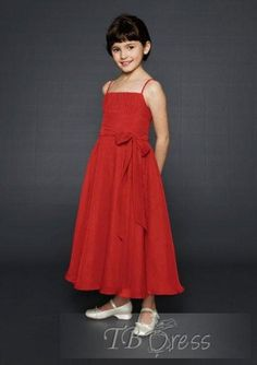 Lovely A-line Ankle-length Spaghetti Straps Bowknot  Flower Girl Dress - could do same color as bridesmaids