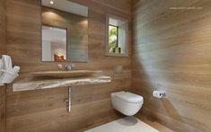 Kő mosdópult és fa falburkolat - fürdő / WC ötletek, modern stílusban