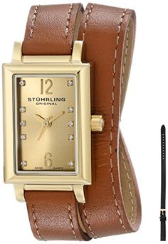 Stuhrling Original Womens 810SET02 Audrey Paris Yellow GoldPlated Watch with Interchangeable Straps -- Check this awesome product by going to the link at the image.Note:It is affiliate link to Amazon.