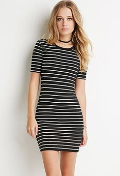Ribbed Stripe Bodycon Dress from Forever Saved to Dresses . Shop more products from Forever 21 on Wanelo. Summer Dresses With Sleeves, Sexy Summer Dresses, Black Dress With Sleeves, Bodycon Dress With Sleeves, Black Bodycon Dress, Trendy Dresses, Blue Dresses, Casual Dresses, Short Dresses
