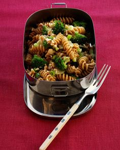 The peanut butter, rice vinegar, and soy sauce give this pasta salad an Asian flavor.
