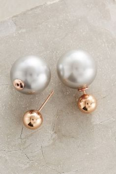 Rose Gold & Pearl Double Sided Studs | Palazzo Pearl-Backed Studs | Rose Gold Earrings Jewelry | anthropologie.com