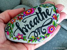 breathe / painted stones / painted rocks / hand painted rocks / rock art / art on stone / words in stone / encouragement / boho art / rocks by LoveFromCapeCod on Etsy