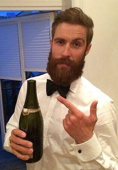 full thick beard and mustache beards bearded man men mens' style party champage dapper bowtie bearding #007 #beardsforever
