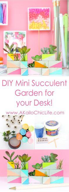 DIY a mini cinder block succulent garden using maker's mix concrete and faux succulents.
