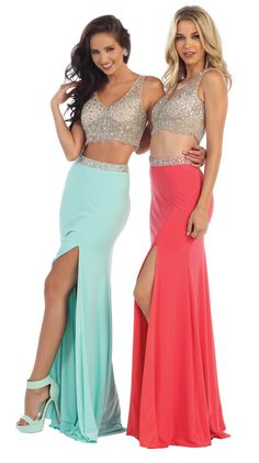 2016 Sexy 2 Piece Prom Long Set High Front Slit Formal Dress - The Dress Outlet - 1