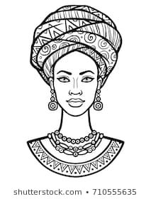 Animation portrait of the young African woman in a turban. Monochrome linear dra… Animation portrait of the young African woman