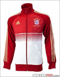 adidas Bayern Munich Anthem Jacket - University Red with Metallic Gold and White...$69.99
