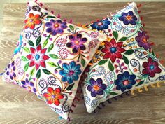 Pillow cushion covers Hand embroidered flowers Sheep & alpaca wool 16 x 16 handmade Set of 2 Cream by khuskuy on Etsy