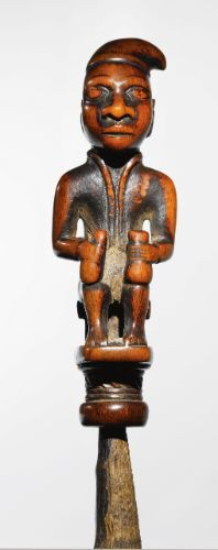 Kongo-Vili Whistle Charm, Democratic Republic of the Congo Nsiba, mounted on associated Common Bush Duiker (Sylvicapra grimmia) horn. Height of figure: 3 7/8 in (9.8 cm)