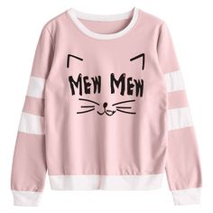 Cat Graphic Striped Sweatshirt Pink ($16) ❤ liked on Polyvore featuring tops, hoodies, sweatshirts, cat print top, cat top, pink top, pink sweatshirts and graphic tops