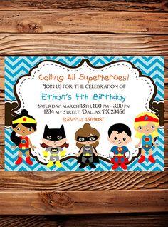 Superheroes Birthday Party Invitation, GIRL, Boy, Heroes Birthday Party, Pink, Blue, Black, Chevron Stripes, Printable, Digital. $18.00, via Etsy.