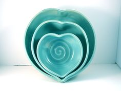 Romantic Blue Ceramic Nesting Heart Bowls  IN STOCK -  Blue heart serving bowls-  couples wedding engagement or anniversary. $90.00, via Etsy.