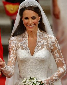 """The Carrickmacross lace-making technique used on Kate's wedding dress was also featured on Diana, Princess of Wales's  wedding dress.  The technique, used for the delicate lace applique flowers on the train and   bodice of Kate's dress, is named after the  market town in Co Monaghan where it originated."""