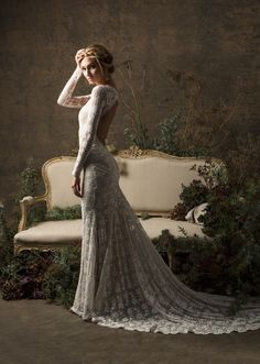 Valentina Bohemian Wedding Dress Long Sleeves Lace Gown w/ image 1 Lace Wedding Dress, Long Wedding Dresses, Bridal Lace, Bridal Dresses, Wedding Gowns, Wedding Shoes, Wedding Jumpsuit, Wedding Book, Ball Dresses