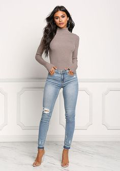 Light Denim Mid Rise Distressed Skinny Jeans - New
