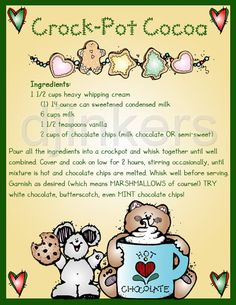 crockpot cocoa, christmas clip art, christmas recipe, holiday clip art, cute christmas