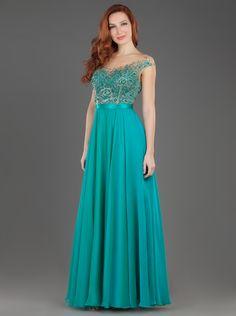 Φόρεμα μακρύ βραδινό με δαντέλα και κέντημα στο μπούστο | Βραδυνά Φορέματα - MIKAEL