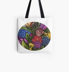 'Flower Bouquets ' Tote Bag by Laurajart Buy Flowers, Bright Flowers, Large Bags, Small Bags, Cotton Tote Bags, Reusable Tote Bags, Are You The One, Take That, Flower Bouquets