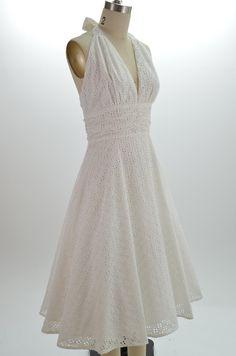 1d107c7753a 50s Style WHITE EYELET LACE Bombshell PINUP Marilyn HALTER SunDress w Full  Skirt