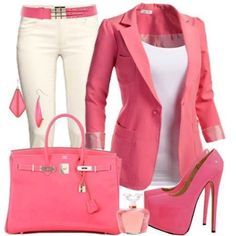 Pretty in pink work outfit! Shoes are kinda unrealistic, but worth it to look that good. Mode Outfits, Fashion Outfits, Womens Fashion, Latest Fashion, Woman Outfits, Fashion 2018, Fashion Ideas, Fashion Online, Fashion Shoes